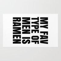 ramen Area & Throw Rugs featuring My Fav Type of Men is Ramen by CreativeAngel