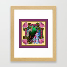 YELLOW-PUCE  PURPLE & PINK ROSES GREEN PEACOCK FLORAL Framed Art Print