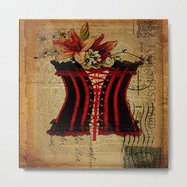 elegant girly lily flower newspaper print  black red corset Metal Print