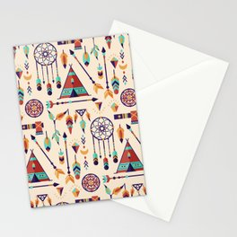 Aztec Tribal Seamless Pattern wiht Dreamcatcher and Arrows Stationery Cards