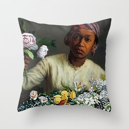 African American Masterpiece 'Young Woman with Peonies' by Frederic Bazille Throw Pillow