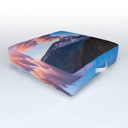 Fire on the Mountain - Sunrise Illuminates Cloud Over Longs Peak in Colorado Outdoor Floor Cushion