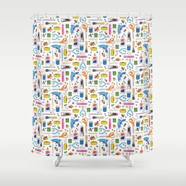 Cute & Crafty - Fun Pattern For Crafters w/ Colorful Craft Supplies Shower Curtain