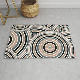 Retro Art, Colourful Prints, Teal, Beige, Pink, Black, , Geometric Art Rug