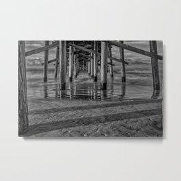 Sunrise Under Newport Pier in Black and White Metal Print