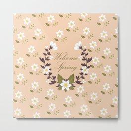 Spring Elements Pattern Wreath Metal Print
