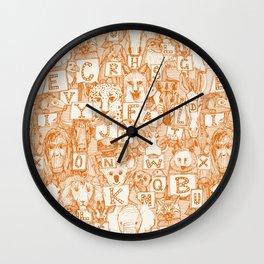 animal ABC orange ivory Wall Clock