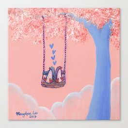 Penguins in Love on Their Tree Swing in a Pink Sky Canvas Print
