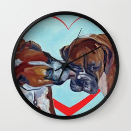 Be My Valentine Kissing Boxers Wall Clock