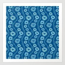 Wavy Toothy Flowers > Blue Art Print