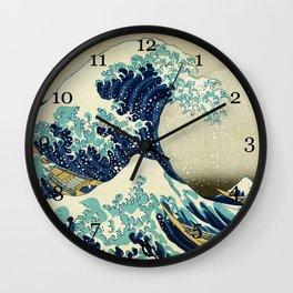 Great Wave off kanagawa. Japanese vintage fine art. Wall Clock