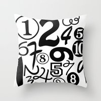 numbers Throw Pillows featuring Numbers by Sweet Colors Gallery