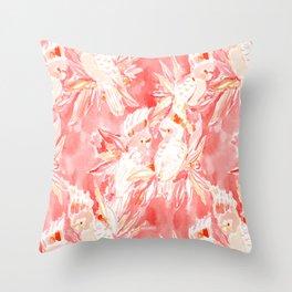 COCKATUDE Peach Cockatoos Throw Pillow