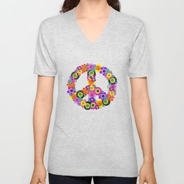 Peace Sign of Flowers Unisex V-Neck