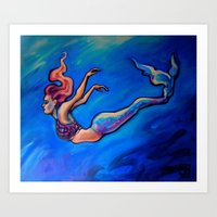 Pink Punk Rock Mermaid Art Print