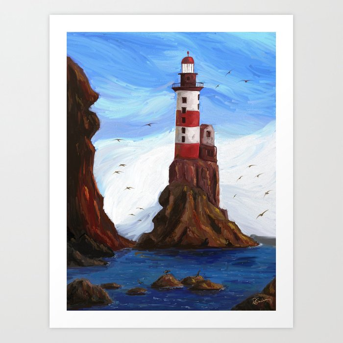 Lighthouse at the sea Art Print