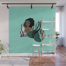 Black and Beautiful Mermaid Wall Mural