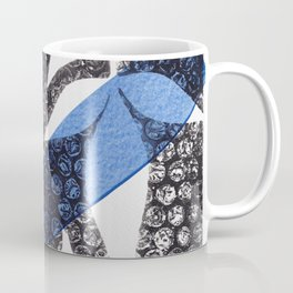 Modern Botanical Laurel Oak Monoprint Black and Blue Coffee Mug