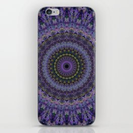 Floral mandala in violet and purple tones iPhone Skin