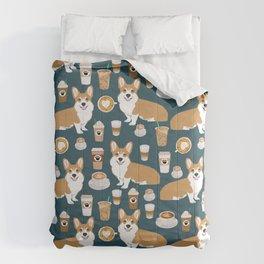 Corgi Coffee print corgi coffee pillow corgi iphone case corgi dog design corgi pattern Comforters
