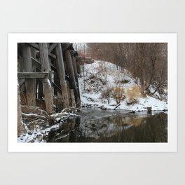 Winter River-Train Bridge Photo  Art Print