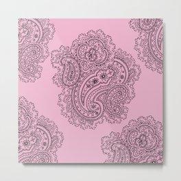 Pink and Grey Paisley Graphic Design Metal Print