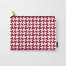 Crimson Red Houndstooth Pattern Design Carry-All Pouch