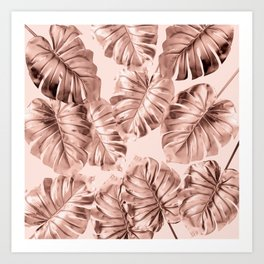 Rose Gold Monstera Art Print