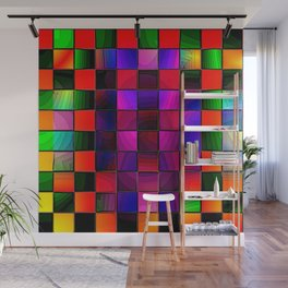 Rainbow Checkers Wall Mural