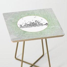 Philadelphia, Pennsylvania City Skyline Illustration Drawing Side Table