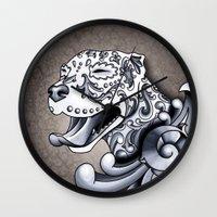 pit bull Wall Clocks featuring Ornamental Pit Bull by Pretty In Ink