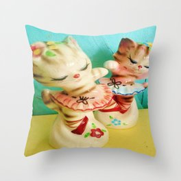 Vintage Ballerina Kitty Shakers Throw Pillow