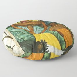 Tehuana Women Bringing Fruit to Market by Diego Rivera Floor Pillow