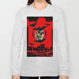 BAT INFESTED HAUNTED SKULL ON BLEEDING RED ON RED  ART Long Sleeve T-shirt