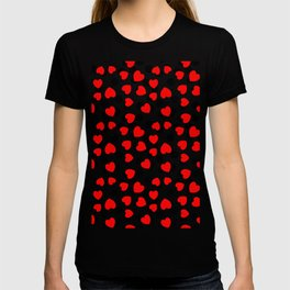 Red hearts and black dots T-shirt