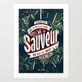 "Verset Bible Noël ""Jésus, Sauveur du monde"" Art Print"