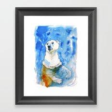 Polar Bear Inside Water Framed Art Print