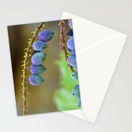 Early spring berries (blue, purple and green) Stationery Cards