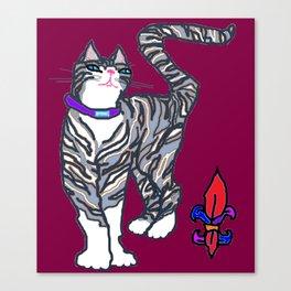 Helena Kitty with Fleur de Lis Canvas Print