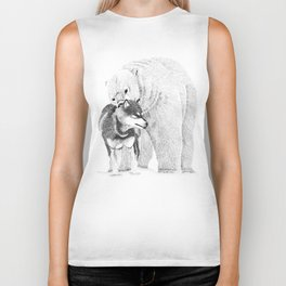 Eskimo dog and Polar bear pointillism illustration Biker Tank