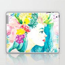 Aqua Watercolor Portrait Laptop & iPad Skin