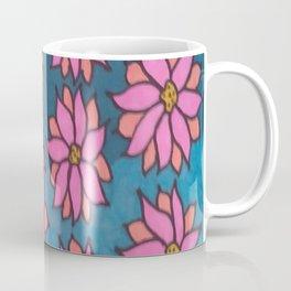 Pink and Blue Dahlia Print Coffee Mug