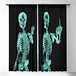 X-ray Bird / X-rayed skeleton demonstrating international hand gesture Blackout Curtain