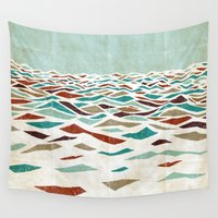 minimal Wall Tapestries featuring Sea Recollection by Efi Tolia