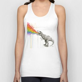 T-Rex Dinosaur Rainbow Puke Taste the Rainbow Watercolor Unisex Tank Top