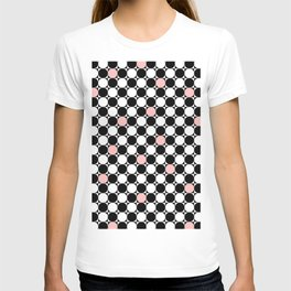 Geometrical abstract pink coral black white polka dots T-shirt