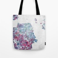 san francisco map Tote Bags featuring San Francisco map by MapMapMaps.Watercolors