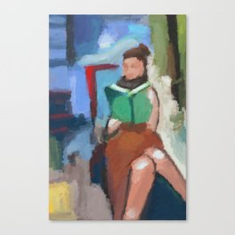 Figure Reading Book Canvas Print