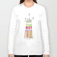 cake Long Sleeve T-shirts featuring Cake by Stefania Morgante