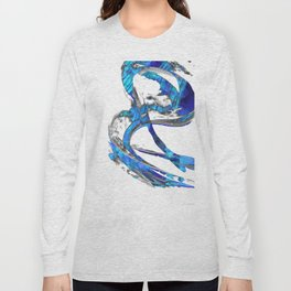 Modern Blue And White Art Painting - Flowing 4 - Sharon Cummings Long Sleeve T-shirt